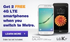 Switch to MetroPCS and get 2 FREE 4G LTE smartphones!
