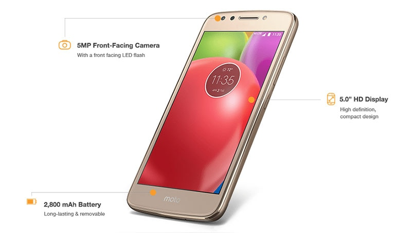 The moto e offers a 5MP front-facing camera, 5 inch high definition display with compact design, and 2800 mAh battery that's long-lasting and removable