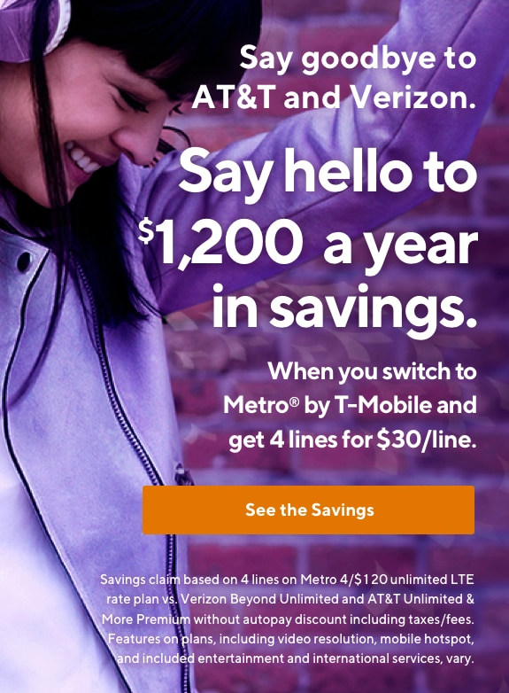 save up to $1200 dollars when you switch to MetroPCS