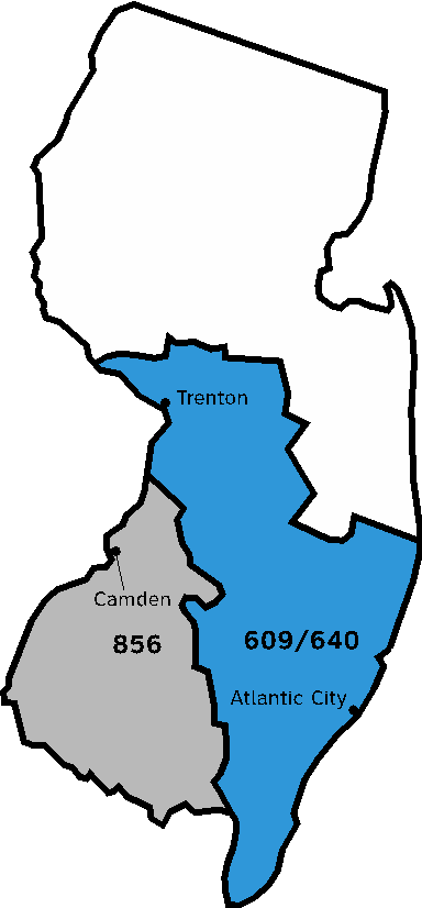 609 Area Code Map