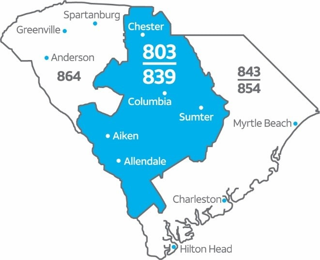 803 Area Code Map