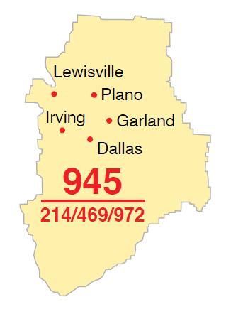 Mapa del código de área 945
