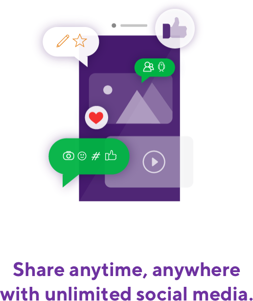 Share anytime, anywhere with unlimited social media