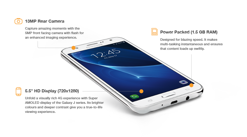 The Samsung Galaxy J7 has a 13MP main camera, a visually rich 5.5