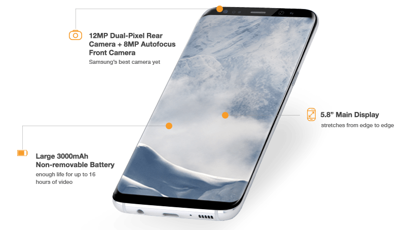 The Samsung Galaxy S8 offers a 5.8 inch Main Display that stretches from edge to edge, 12MP dual-pixel rear camera plus 8MP autofocus front camera, and the large 3000 mAh non-removable battery with enough life for up to 16 hours of video.