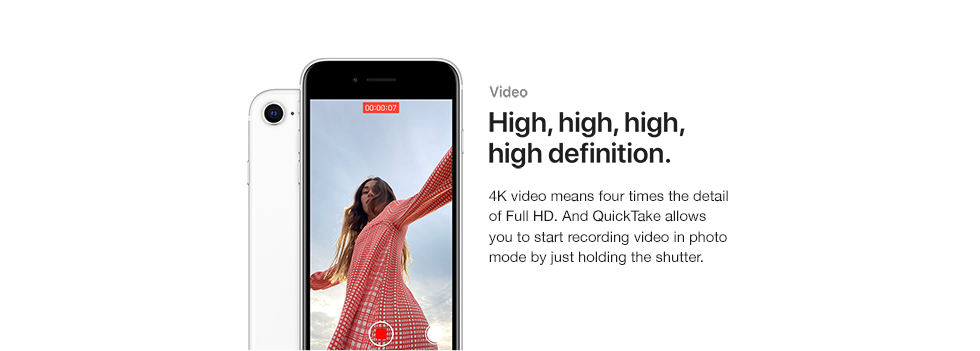 Video. High, high, high, high definition. 4K video means four times the detail of Full HD. And QuickTake allows you to start recording video in photo mode by just holding the shutter.