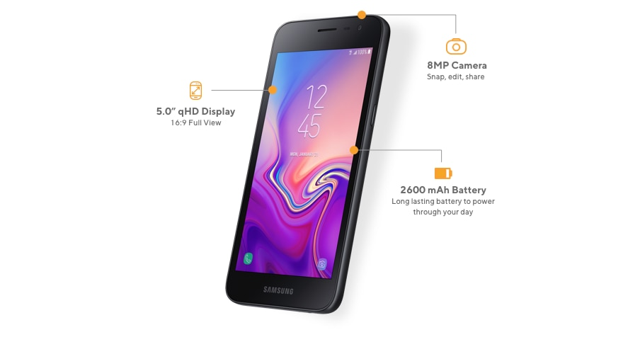 The Samsung Galaxy J2 offers a 5-inch qHD Display with aspect ratio 16:9 full view, 8MP camera to snap, edit and share, and 2600 mAh long-lasting battery for power through your day.