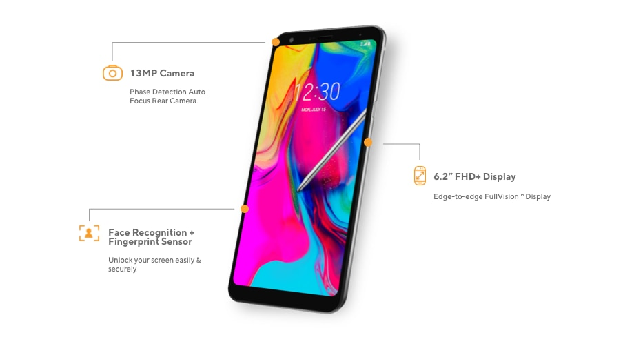 The LG Stylo 5 offers a 13MP camera with phase detection auto focus rear camera, 6.2-inch full HD plus display with edge-to-edge Fullvision Display, and Face Recognition and Fingerprint Sensor to unlock your screen easily and securely.