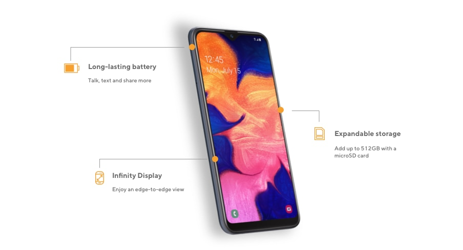 The Samsung A10e offers a long-lasting battery to talk, text and share more, expandable storage to add up to 512GB with a microSD card, and Infinity Display to enjoy edge-to-edge view.
