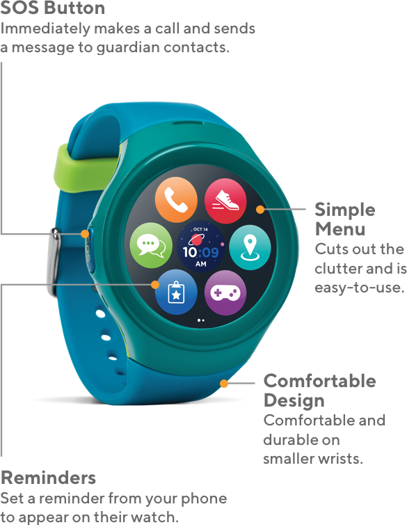 Timex FamilyConnect offers SOS button to immediately make a call and send a message to guardian contacts, Simple Menu that cuts out the clutter and is easy to use, Reminders from your phone to appear on the watch, and a comfortable design that's durable for smaller wrists.
