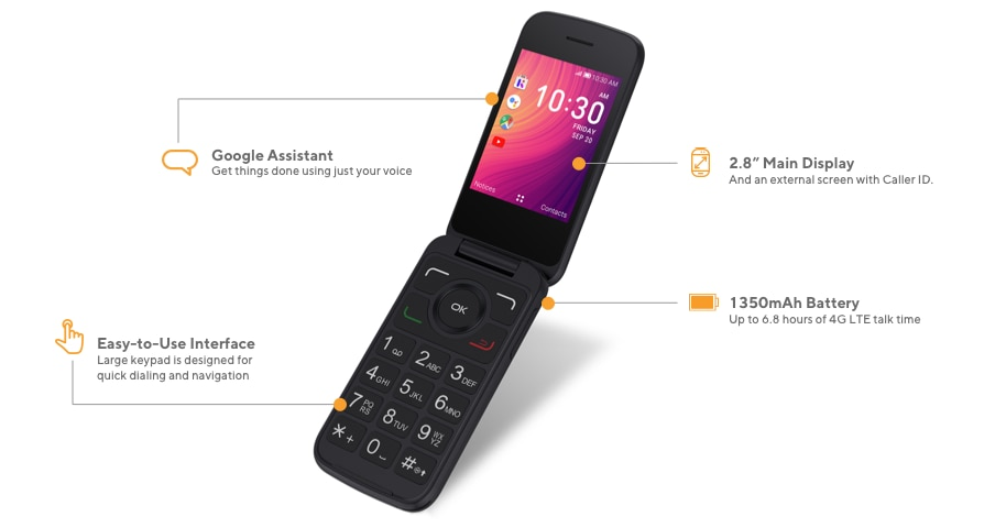The Alcatel Go Flip 3 offers Google Assistant to get things done using just your voice, 2.8-inch main display with external screen with caller ID, easy-to-use interface with a large keypad designed for quick dialing and navigation, and a 1350 mAh battery for up to 6.8 hours of 4G LTE talk time.