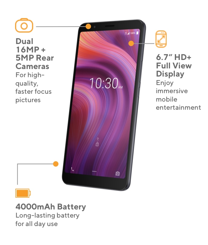TThe Alcatel 3V offers dual 16MP and 5MP rear cameras for high-quality and faster-focus pictures, 6.7 inch HD Plus full view display to enjoy immersive mobile entertainment, and a 4000 mAh long-lasting battery for all day use.
