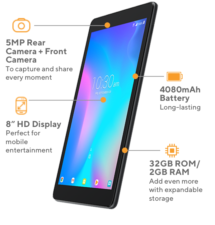 Alcatel JOY Tablet offers 5MP rear camera plus front camera to capture and share every moment, 4080mAh long-lasting battery, 8 inch HD display perfect for mobile entertainment, and 32GB ROM and 2GB RAM to add even more with expandable storage.