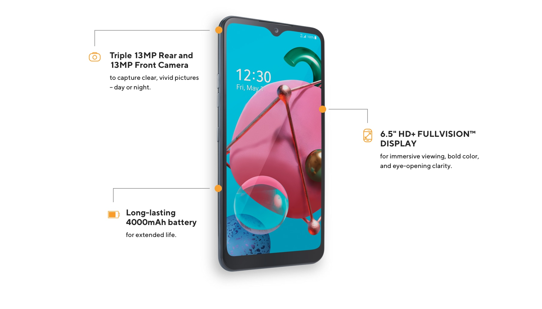 The LG K51 offers a 13MP camera, 6.5-inch HD plus Full-Vision display, and a long lasting 4000mAh battery.