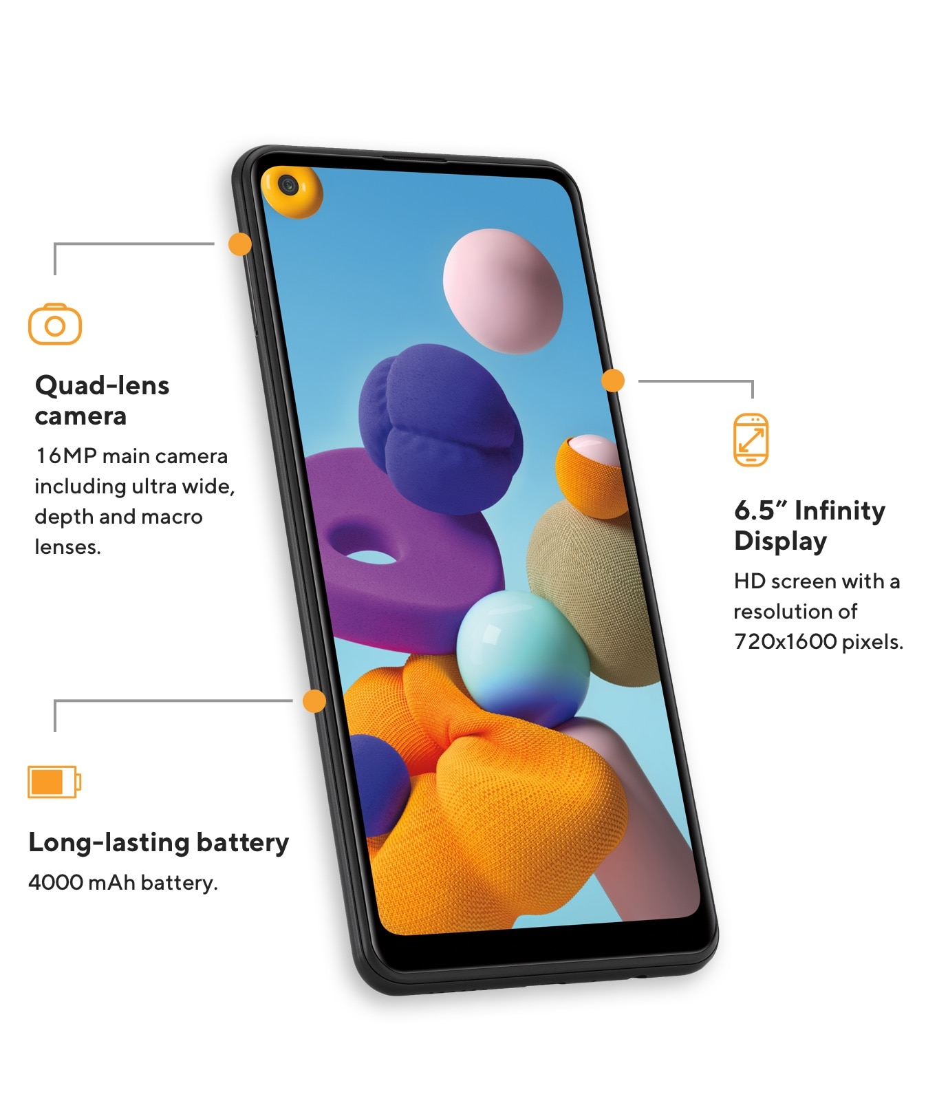 The Samsung A21 offers a quad-lens camera at 16MP including ultra-wide, depth and macro lenses, 6.5 inch Infinity Display with an HD screen offering a resolution of 720 by 1600 pixels, and a long-lasting 4000 mAh battery.