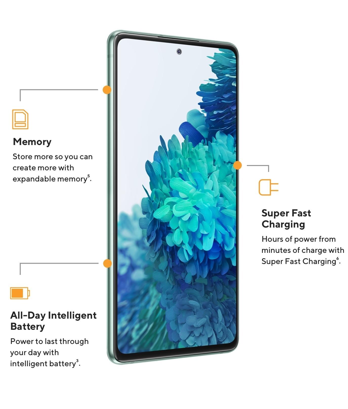 El Samsung Galaxy S205G tienememoria expansible para que puedas almacenar más, horas de uso con minutos de carga con la carga super rápida y energía que dura todo el día con la batería inteligente.